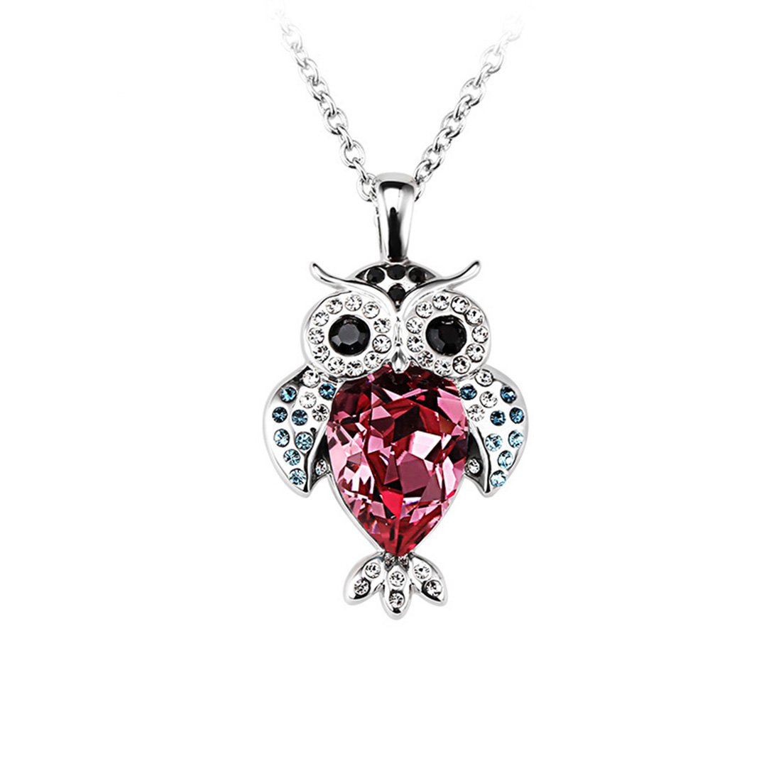 FANSING Jewelry Rhodium Plating Raindrop Shaped Austrian Crystal Owl Pendant Necklaces for Women & Girls Rose Red FS FS06N0974RS