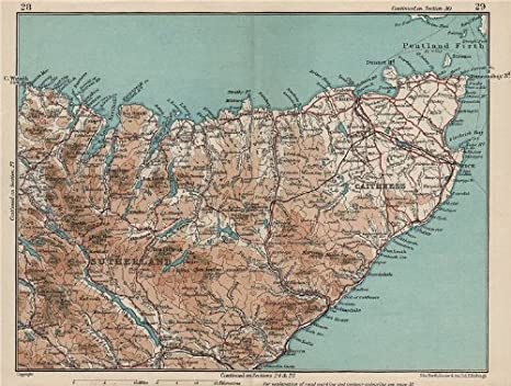 Old Antique Map Old Map Wall Print  Poster Wall Art Wall Art  Scottish Maps  Vintage Print 1832 Caithness Map