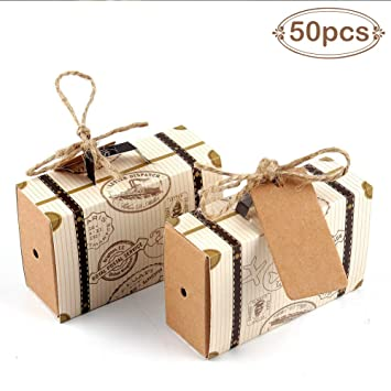 aerwo 50pcs travel themed suitcase favor boxes 50pcs tags vintage kraft favor
