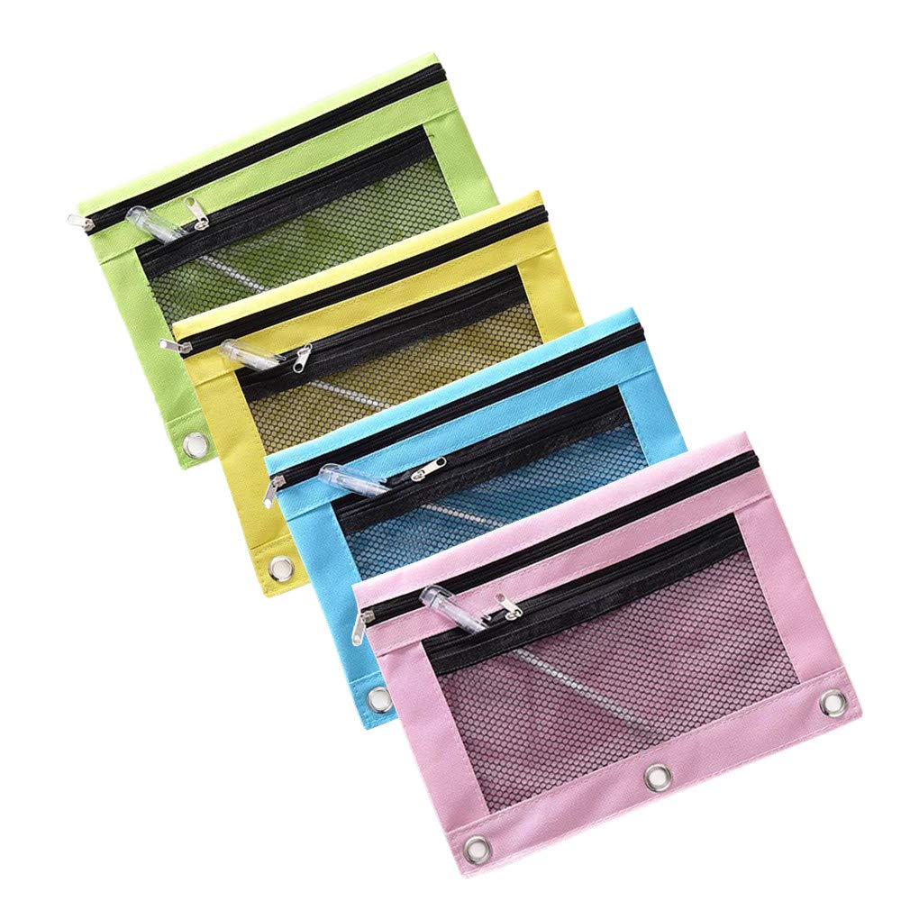 Zip Binder Pencil Bags Pencil Cases with Rivet Enforced Hole 3 Ring Funny live B5 Size Double Zipper 2 Pocket Pencil Bag Transparent Mesh File Pouch Case Pink