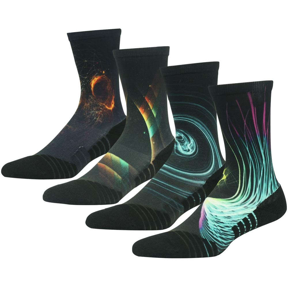 HUSO Galaxy Patterned Comfortable Moisture Wicking Outdoor Hiking Mid Calf Socks 4 Pairs for Men Women (Multicolor, L/XL) by HUSO