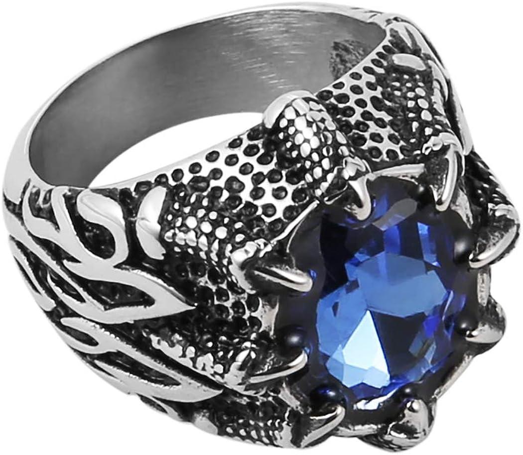 HZMAN Men's Vintage Gothic Biker Dragon Claw Ruby Sapphire Emerald Skull Stainless Steel Ring