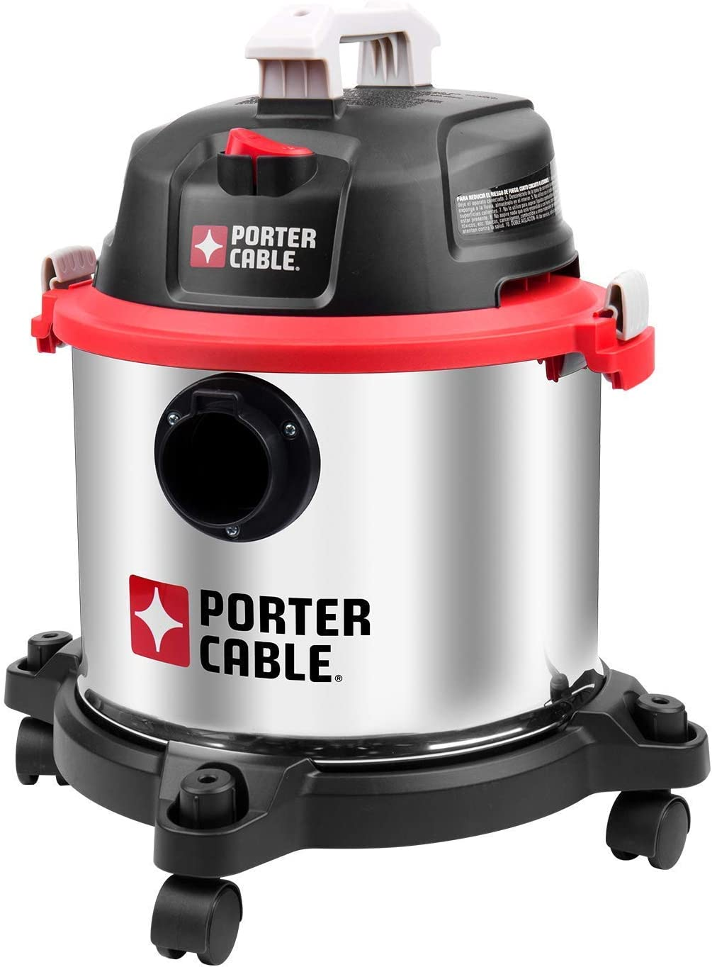 Porter-Cable 5 Gallon Wet Dry Vacuum, 4 Peak HP Stainless Steel 3 in 1 Shop Vac Blower with Powerful Suction, Multifunctional Shop Vacuum W 4 Horsepower Motor for Job Site,Garage,Basement,Workshop