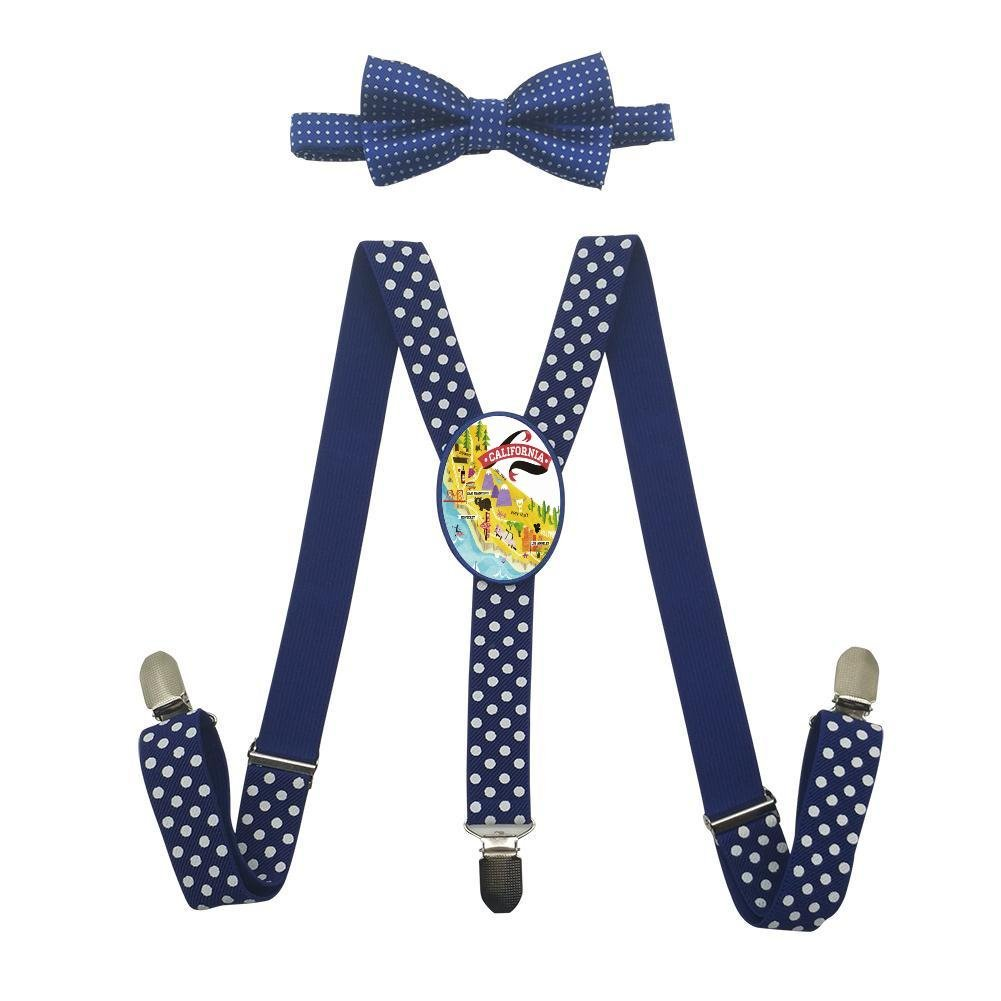Qujki California Suspenders Bowtie Set-Adjustable Length