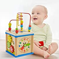 Sanwooden Toy Gift Activity Cube Toy Multifunction Wooden Beads Maze Shape Sorter Education Activity Cube Kids Toy Toys for All Ages