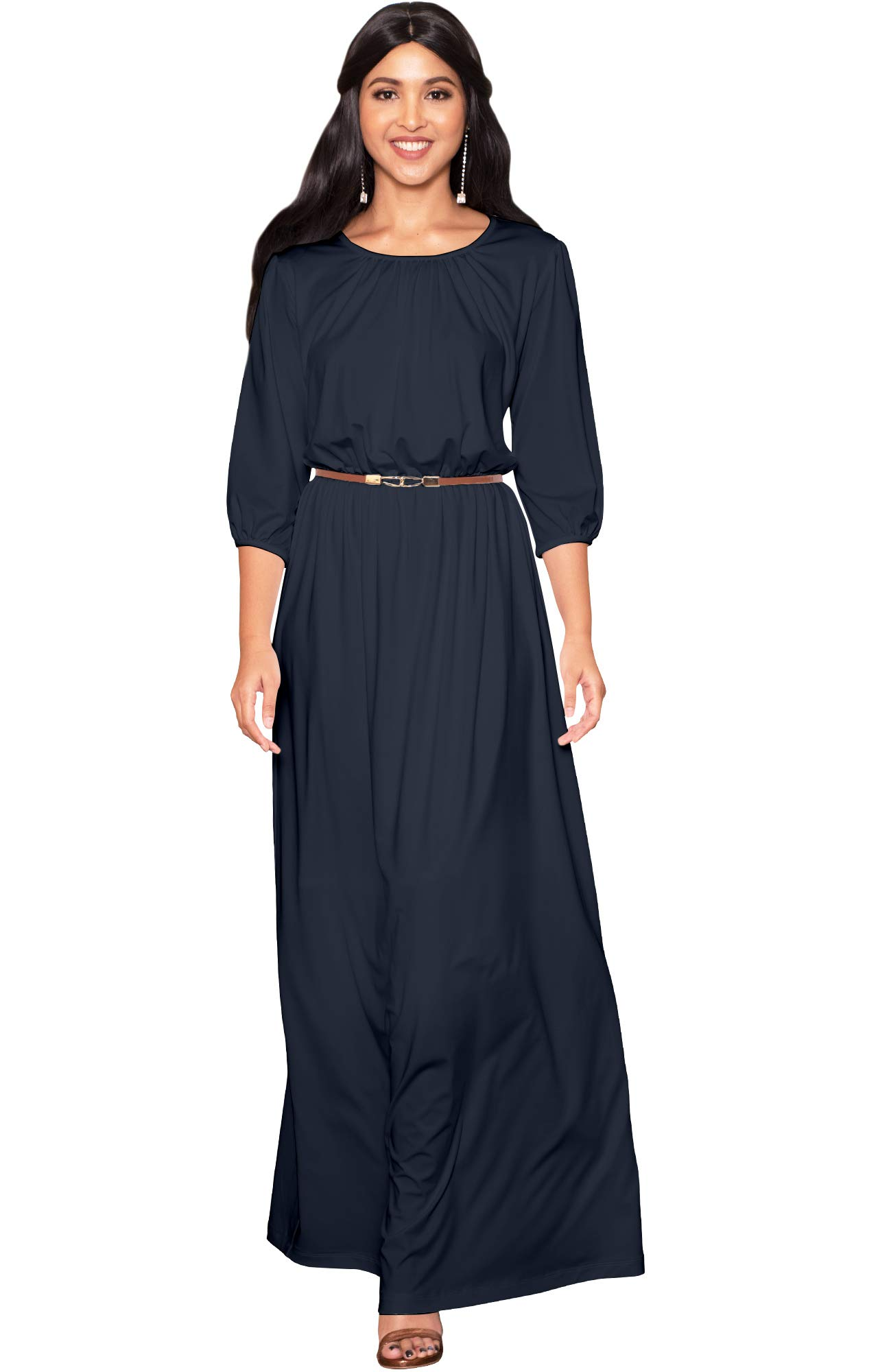 36e3dbee448 KOH KOH Plus Size Women Long 3 4 Sleeve Sleeves Vintage Autumn Fall Winter  Flowy Formal Evening Work Office Modest Peasant Cute Abaya Gown Gowns Maxi  Dress ...