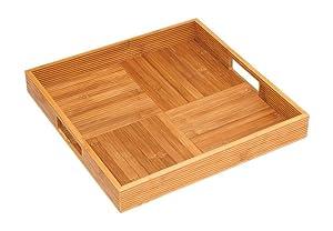 "Lipper International 8866 Bamboo Wood Criss-Cross Serving Tray, 15"" x 15"" x 2"""