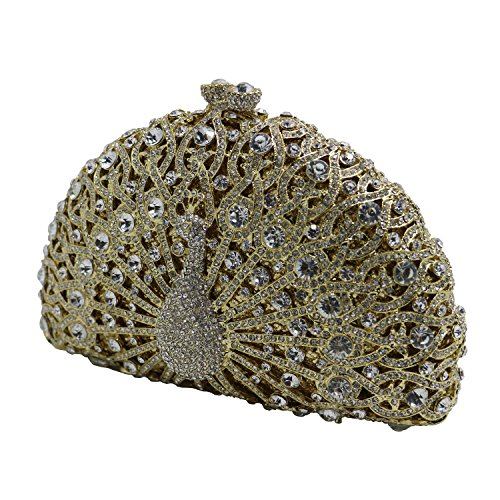 Gold Luxury Evening Womens DMIX Wedding Peacock Crystal Prom Party Bags Clutch for Bridal and 1ZqwORWTw