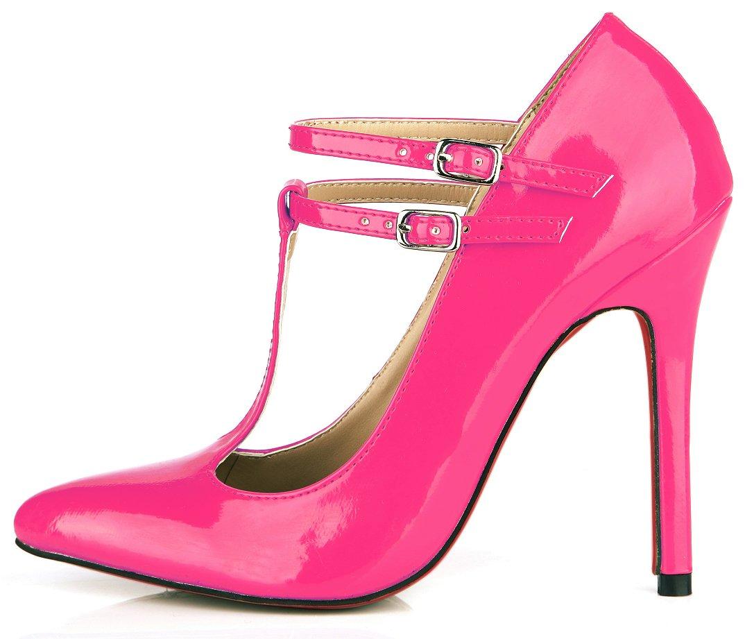Rose pearl Chaussures femmes le tempérament et le printemps nouveau rouge, noir cuir vernis des boîtes de chaussures les chaussures de talon haut US8   EU39   UK6   CN39