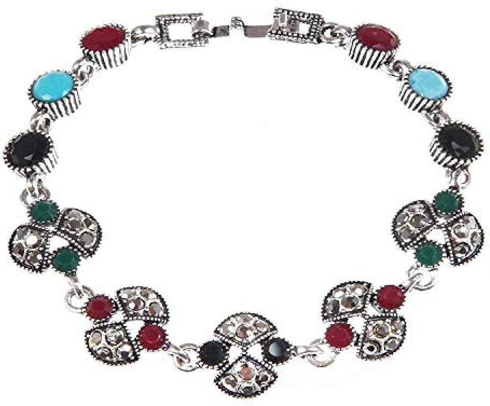 QIEERNN Pulsera Joyas Pulsera De Mujer Pulsera De Piedras Preciosas De Color Bohemio Pulsera De Diamantes Viejos Chapados En Plata