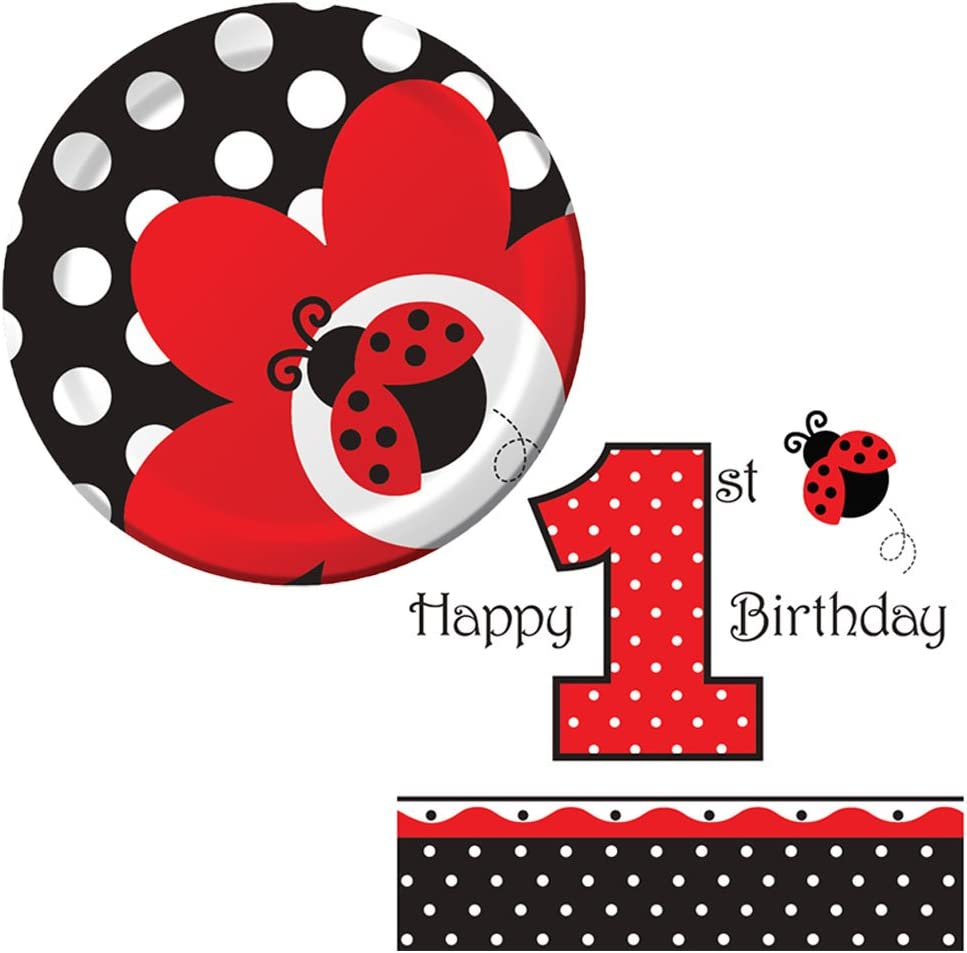 Ladybug Fancy Birthday Party Supplies Pack 16 Guests | 16 Paper Dessert Plates and 16 Paper Beverage Napkins | Adorable 1st Birthday Ladybug Paper Plates and Napkins Kids Birthday Party Bundle