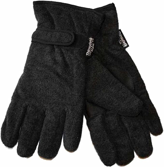 New Mens Thermal Thinsulate Lined Fleece Warm Winter Gloves GL127 L//XL Black