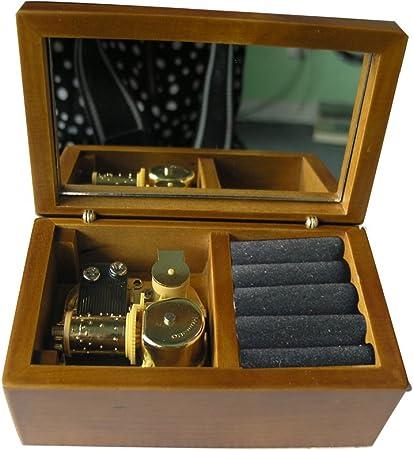 18 nota Windup Caja Musical de madera con espejo Play Elfen Lied Tune, movimiento Musical de oro, modelo M33 (madera de terciopelo): Amazon.es: Hogar