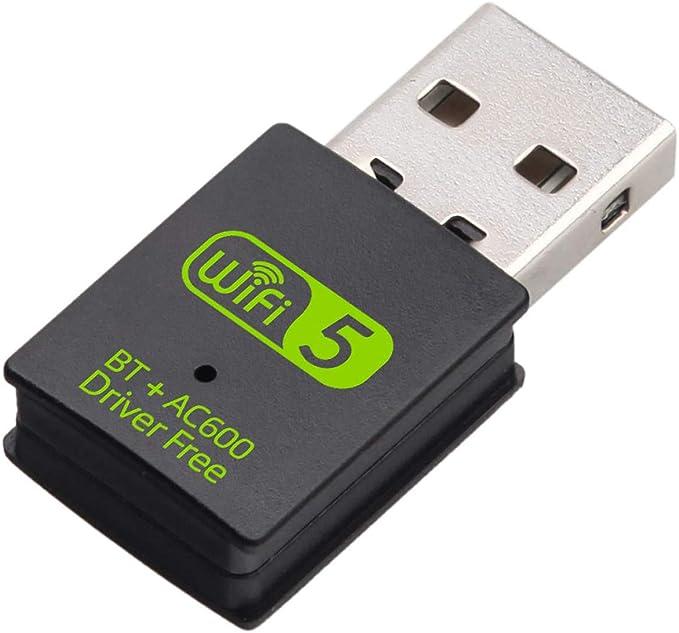 XVZ USB WiFi bluetooth dongle, 600mbps banda dual 2.4G/5G adaptador inalámbrico Wi-Fi tarjeta de red para computadora portátil de escritorio Windows ...
