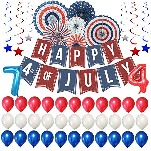 Patriotic Decorations - 4th of July Decor for Independence Day, Including a Happy 4th of July Banner, 6 American Flag Paper Flower Fan, 30 Latex Balloons in Red, Blue and White, 2 Number Foil Balloons, 6 Hanging Swirl, Great Pack for 4th of July Decorations