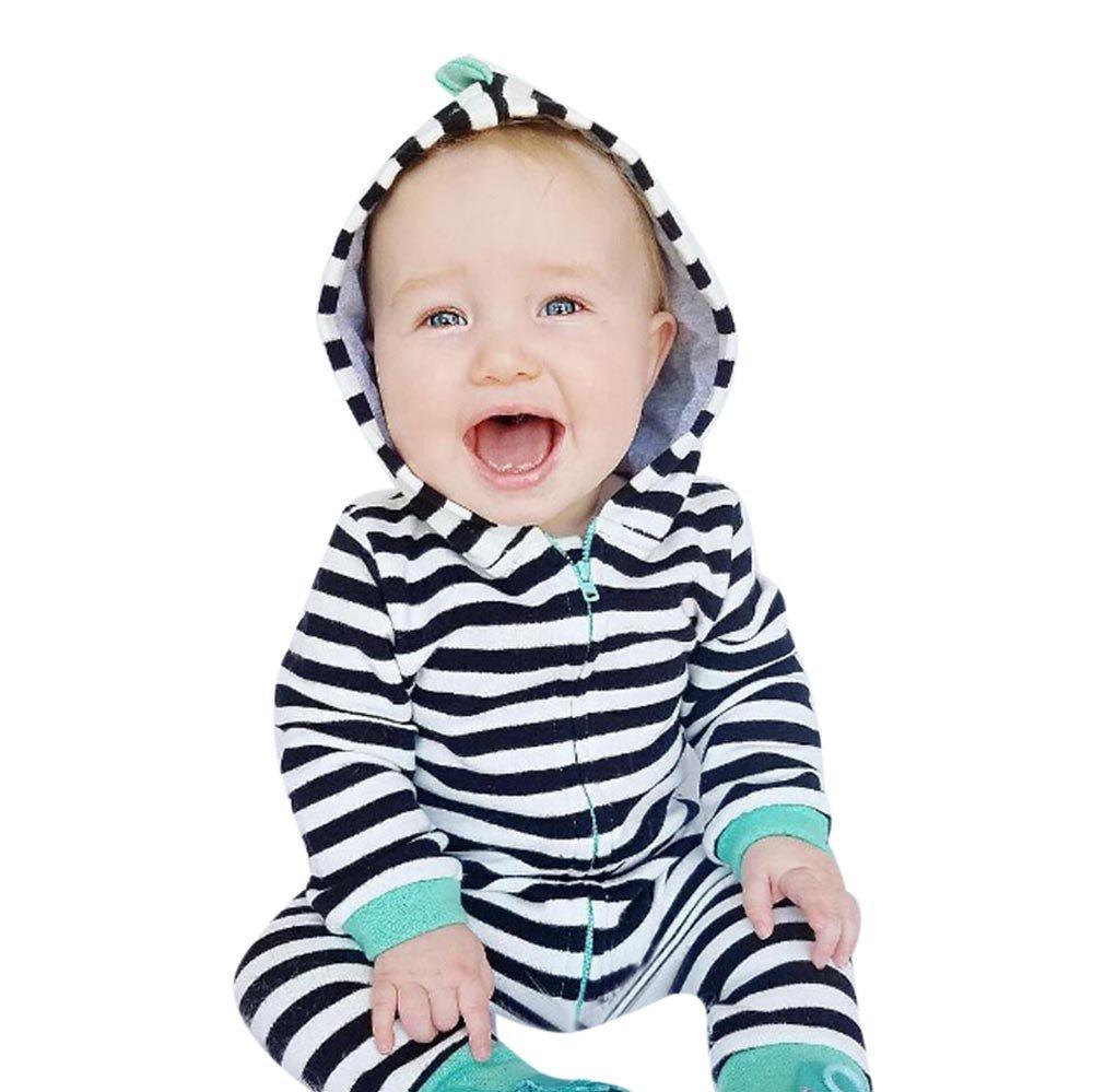feiXIANG Ropa de bebé bebé niño niña otoño e Invierno Medias con Capucha bebé niño Conjunto de Navidad con Cremallera a Rayas Linda Ropa con Capucha 0-36 ...