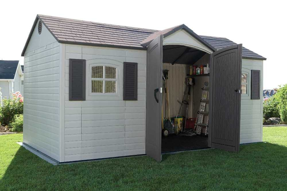 amazoncom lifetime 6446 outdoor storage shed with shutters windows and skylights 8 by 15 feet garden outdoor - Garden Sheds With Windows