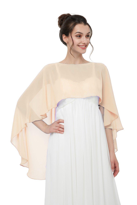 Hot Dresses Women's Chiffon Soft Shawl for Weddings Evening Wraps (Champagne)