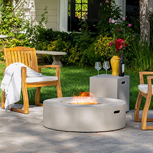 Hearth 50K BTU Outdoor Gas Fire Pit Table with Tank Holder (Circular, Light Grey) by GDF Studio