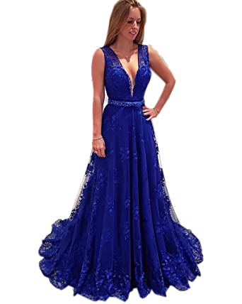 Kimbridal Royal Blue V Neck Lace Prom Dresses 2016 Backless A line Evening Gowns