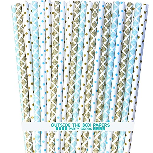 Paper Straws - Light Blue Gold White - Damask and Polka Dot - 7.75 Inches - 100 Pack - Outside the Box Papers Brand
