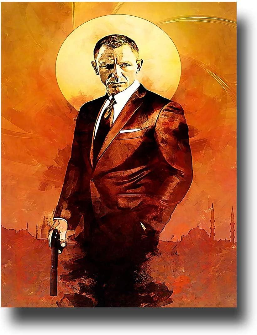 Anzonto - Lienzo decorativo para pared, diseño de James Bond con pistola en la puesta del sol (61 x 91 cm)