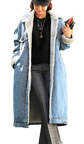 Mieuid Mujer Abrigos Largos Invierno Fashion De Solapa Termica Espesar Manga Largo Chaqueta Vaquera Elegantes Lindo Chic Relaxed Casuales Streetwear ...