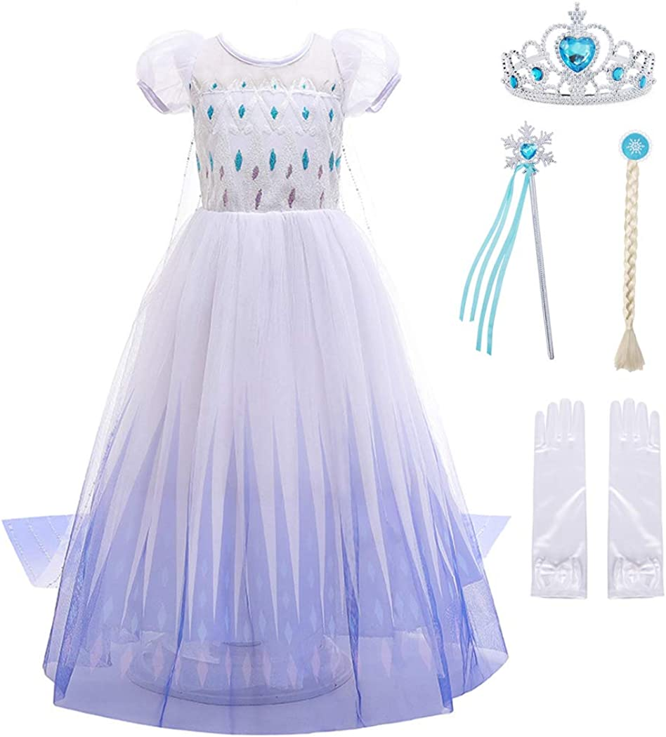AmzBarley Girls Princess Costume for Halloween Cosplay Fancy Party Dress Up