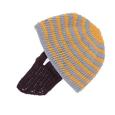 vanpower Creative Kids Winter Knit Warm Funny Beanie Cap Beard Hat(Yellow  Gray) e81b094f5c7