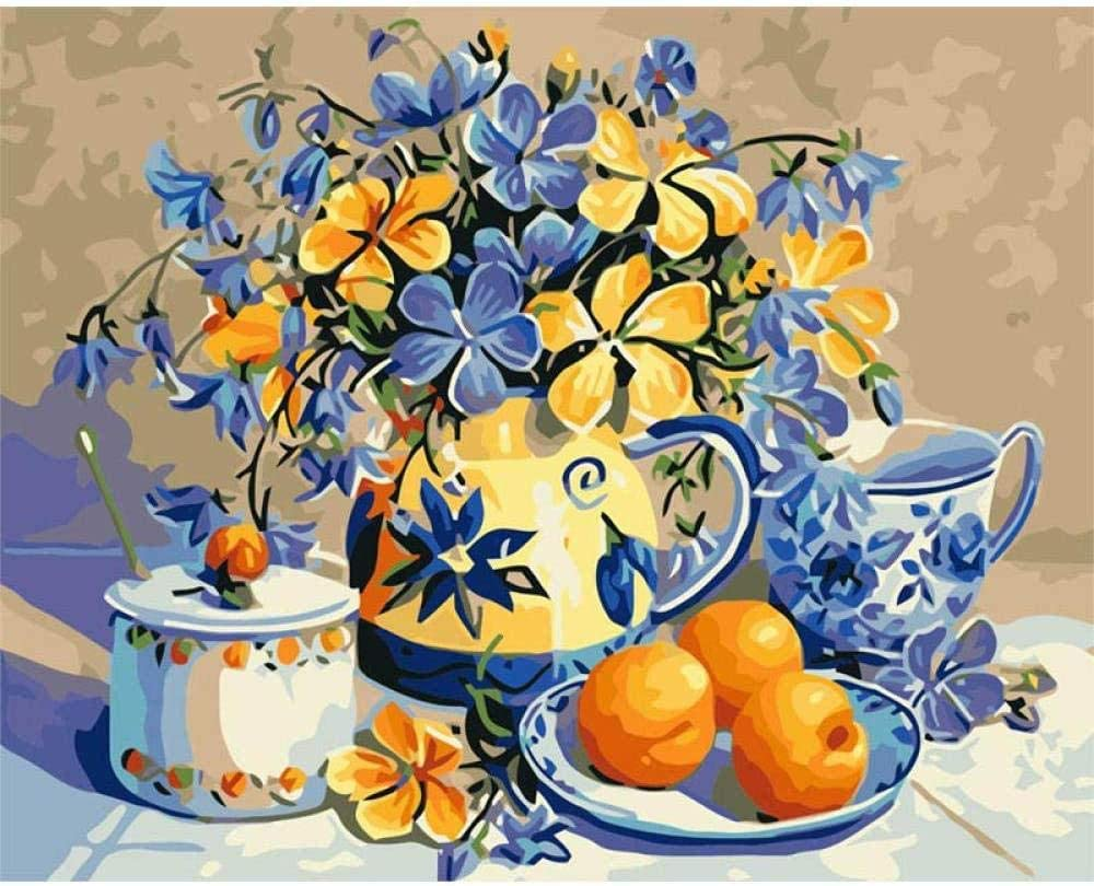 Digital Painting Ideas And Orange Children S Adult Oil Painting Kit Diy Beginner Canvas Wall Art Decoration 40 X 50cm Kids Painting By Numbers Amazon Co Uk Kitchen Home
