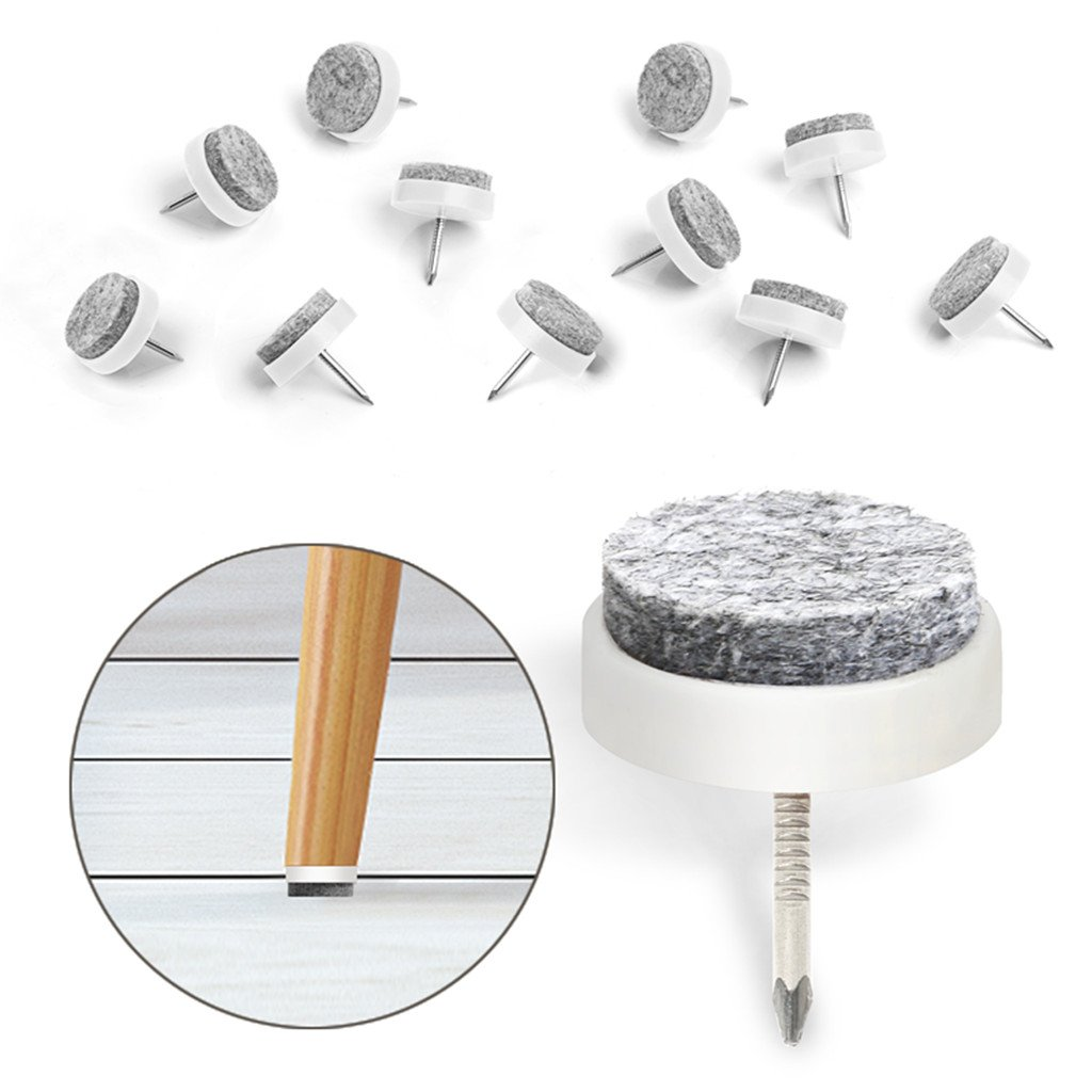 """40pcs Furniture Felt Pad Round Heavy Duty Nail-on Slider Glide Pad Floor Protector for Wooden Furniture Chair Tables Leg Feet(Dia 0.94""""/24mm,White)"""