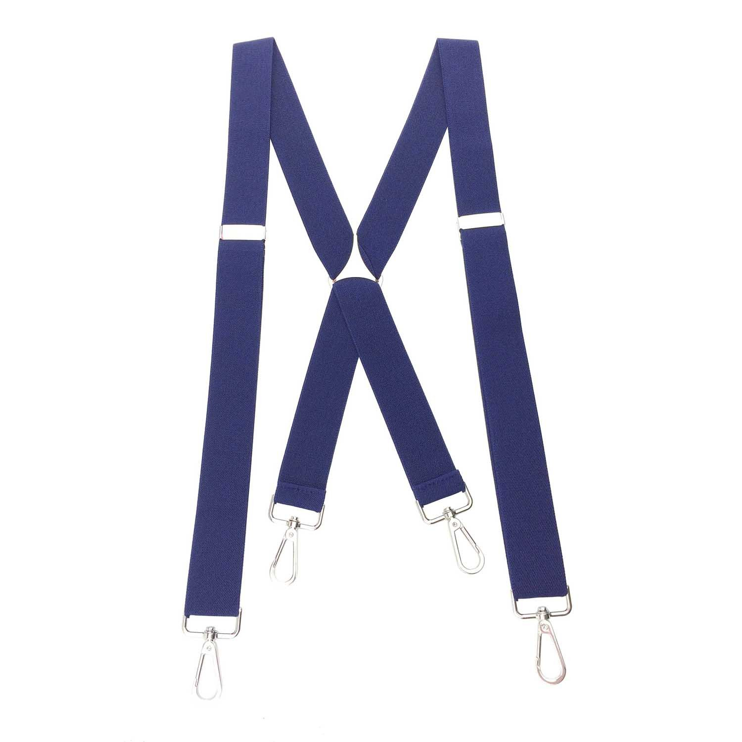 Romanlin Suspenders for Men with Swivel Hooks on Belts Heavy Duty Big and Tall Adjustable Navy Blue