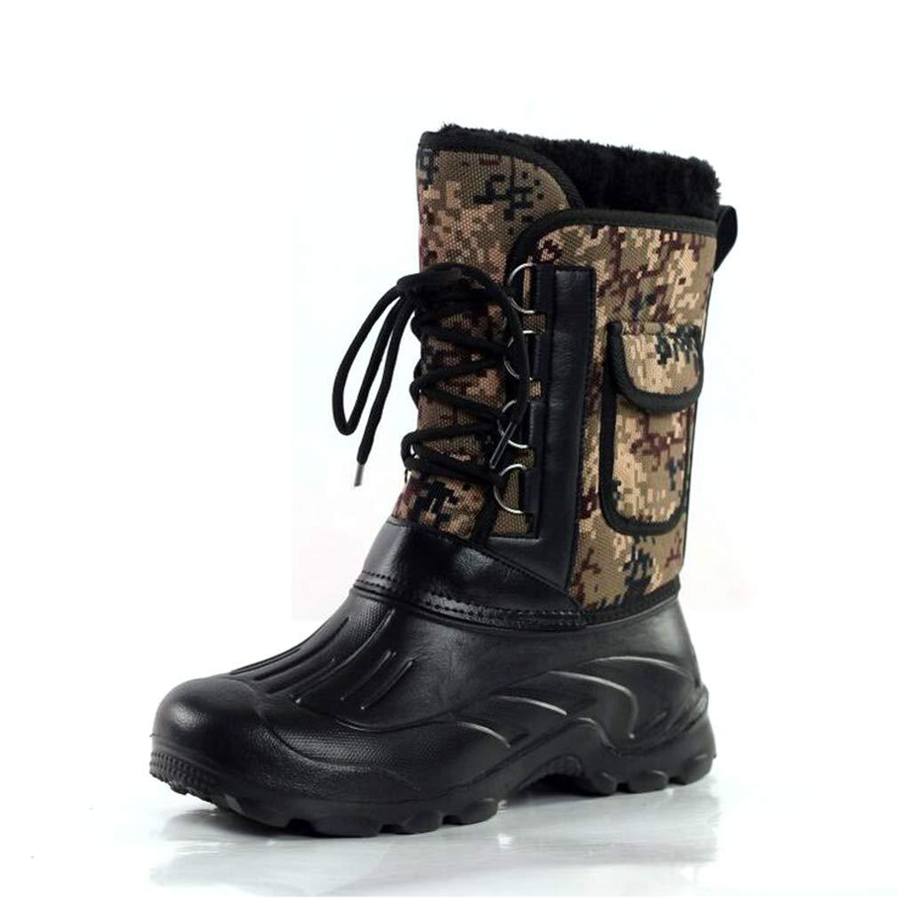 Hy Herrenstiefel, Outdoor Winter Wasserdichte Schneeschuhe Stiefel Skischuhe Angeln Schuhe Kampfstiefel (Farbe   B, Größe   46)