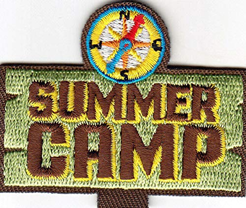 """SUMMER CAMP"" w/Compass- Iron On Embroidered Patch - Vacation, Outdoors, Camping"