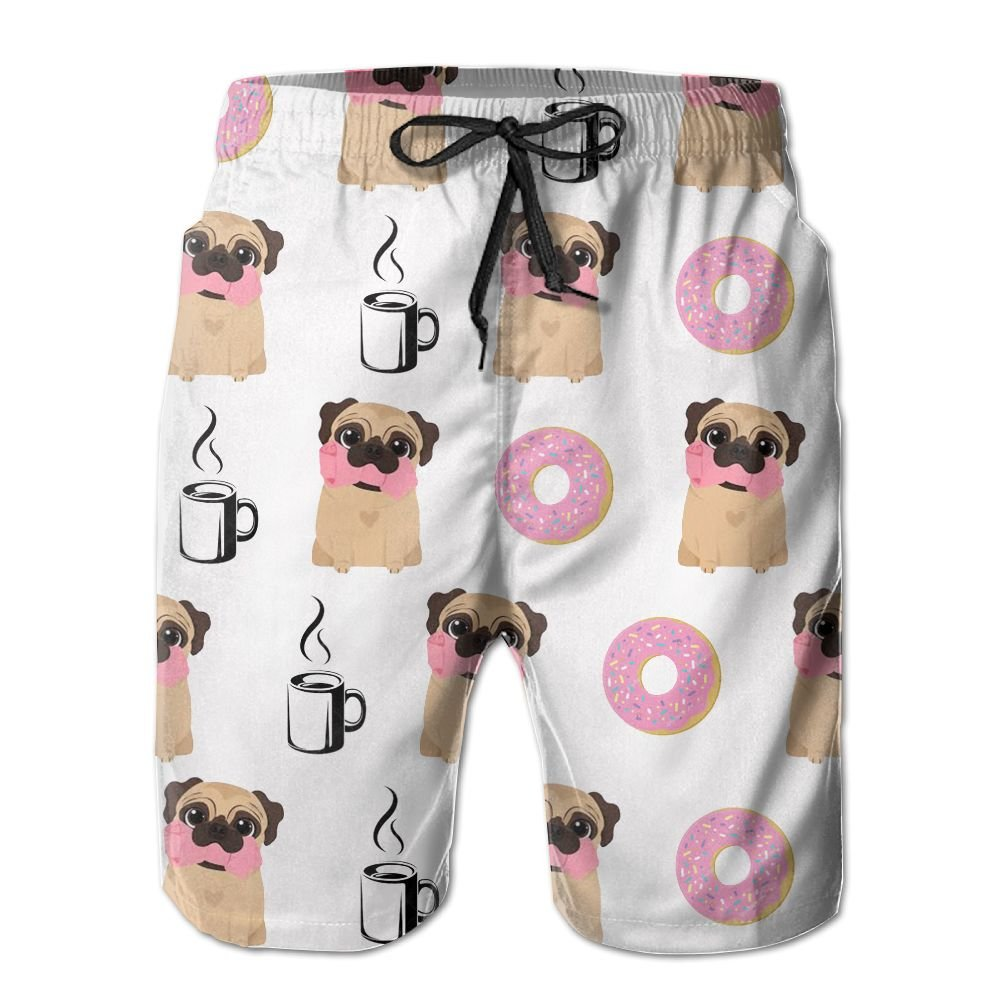 Men's Funny Vector Dogs Pug Puppies Pattern Donut Coffee Quick Dry Lightweight Fashion Board Shorts Swim Trunks M by COOA