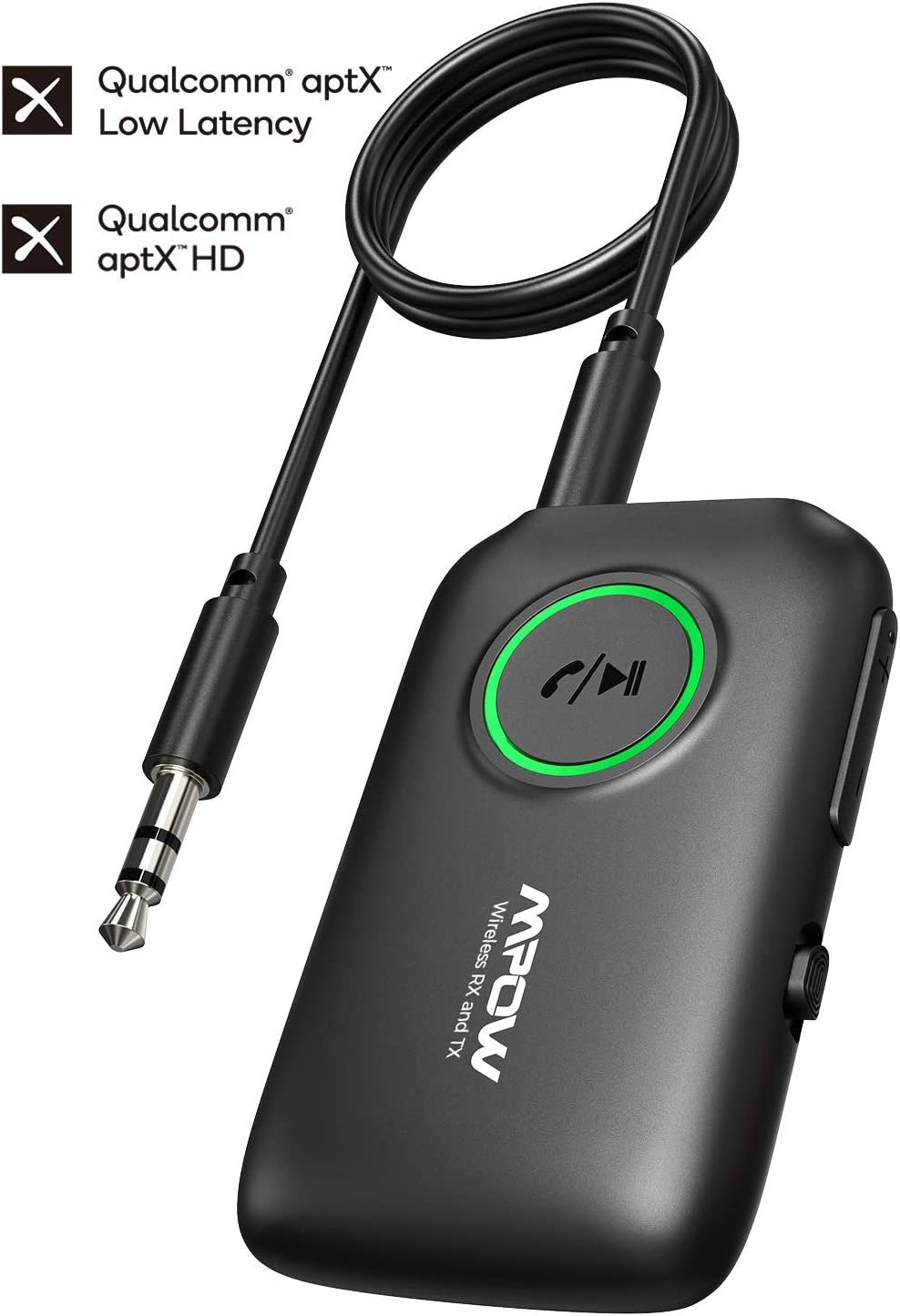 Mpow Bluetooth 5.0 Transmitter Receiver, 2-in-1 Wireless Bluetooth Adapter with aptX Low Latency, aptX HD, Noise-Cancelling, Pair 2 Devices, for TV/Home Sound System/Car/Nintendo Switch