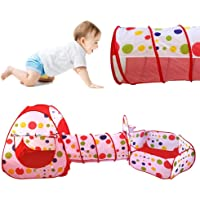 Tende giocattolo,Indoor / Outdoor Tunnel gioco e Play Tent Cubby-Tube-tenda canadese 3 in 1 parco giochi per bambini capretti del bambino Giocattoli SFERE NON INCLUSA