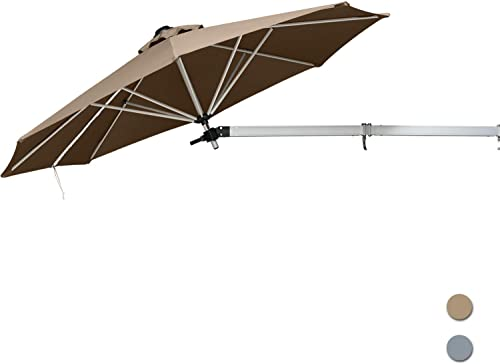 ABCCANOPY 8.5 Feet Wall Mounted Patio Umbrella Tilting Awnings Umbrella Outdoor Garden Umbrella Foldable and Zipper Design,Khaki