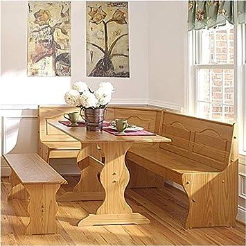 Amazon.com: Pemberly Row Breakfast Corner Nook Table Set in ...
