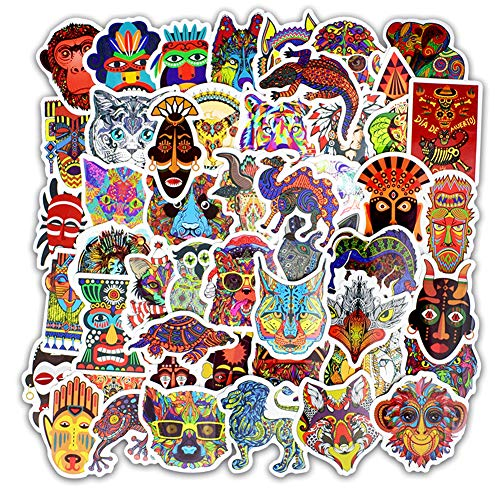 Honch Vintage Tribal Totem 50 Pcs Vinyl Stickers Pack Retro Decals for Laptop Ipad Car Luggage Water Bottle Helmet -