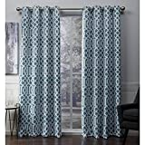 Exclusive Home Scrollwork Gated Print Woven Sateen Grommet Top Curtain Panel Pair, Teal, 52×108, 2 Piece