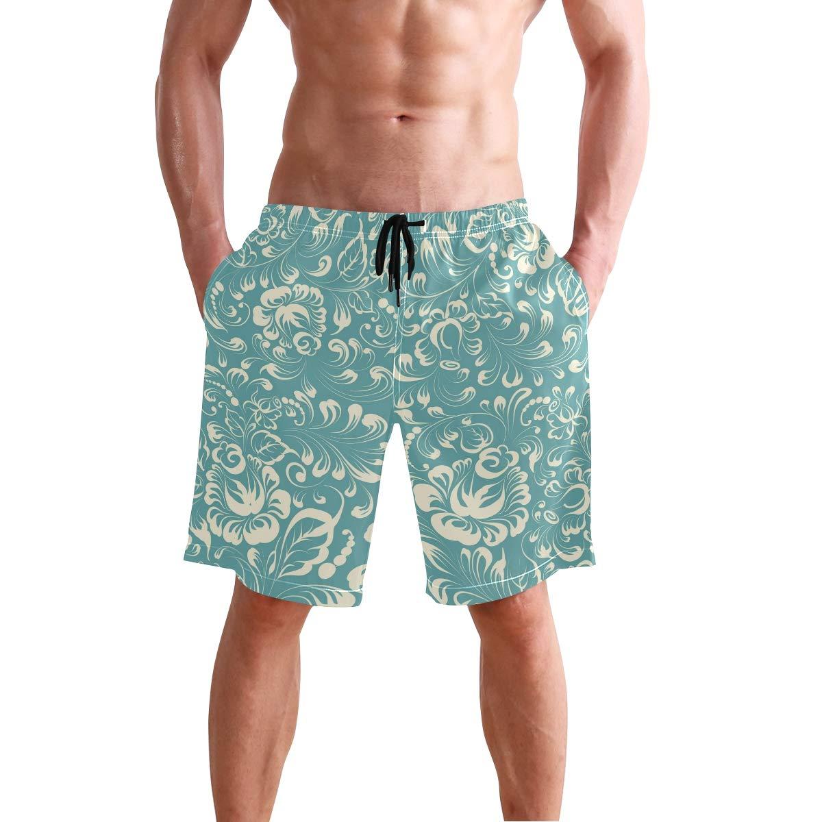 DJROW Hohloma Pattern Mens Quick Dry Beach Shorts Swim Trunk Beachwear with Pockets
