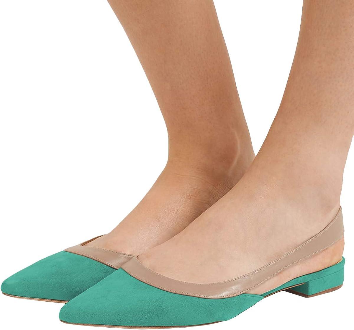 YDN Women Comfortable Pointy Toe Slingback Flats Faux Suede Low Heel Slip On Easy Walking Dress Sandals