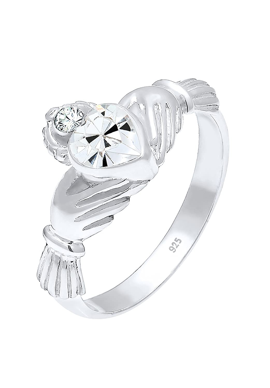 Elli Damen-Ring Claddagh Herz 925 Silber Kristall wei Brillantschliff - 0607782215