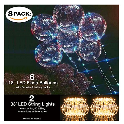 "LED Light Up Balloons 6 Latex Balloon Pack 18"" Flashing Light Up Waterproof Battery Operated and LED String Lights 2 pc, 33ft Warm White 8 Functions 40 LEDs with Remotes Parties Birthdays Graduations -"