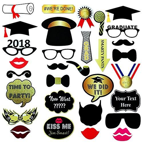 Graduation Photo Booth Props 2018, Glitter Coll...