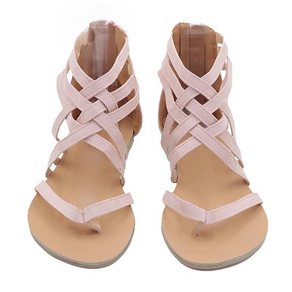 Kootk Frauen Sandalen Flach Sommerschuhe Zehentrenner Sandalette Strandschuhe Abendschuhe Mode Sandaletten Grau 38 JvtlM9