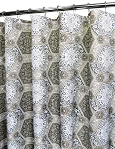 Nice Park B. Smith Renaissance Tiles Watershed Shower Curtain, Black/Silverton