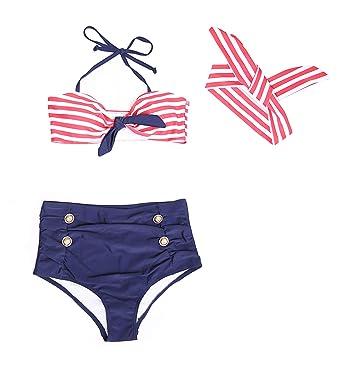 dcadbb0177 Amazon.com: gsch Baby Girls 3 Pcs Swimwear Striped Halter Bow Top+Bottom+Headband  Swimsuit: Clothing