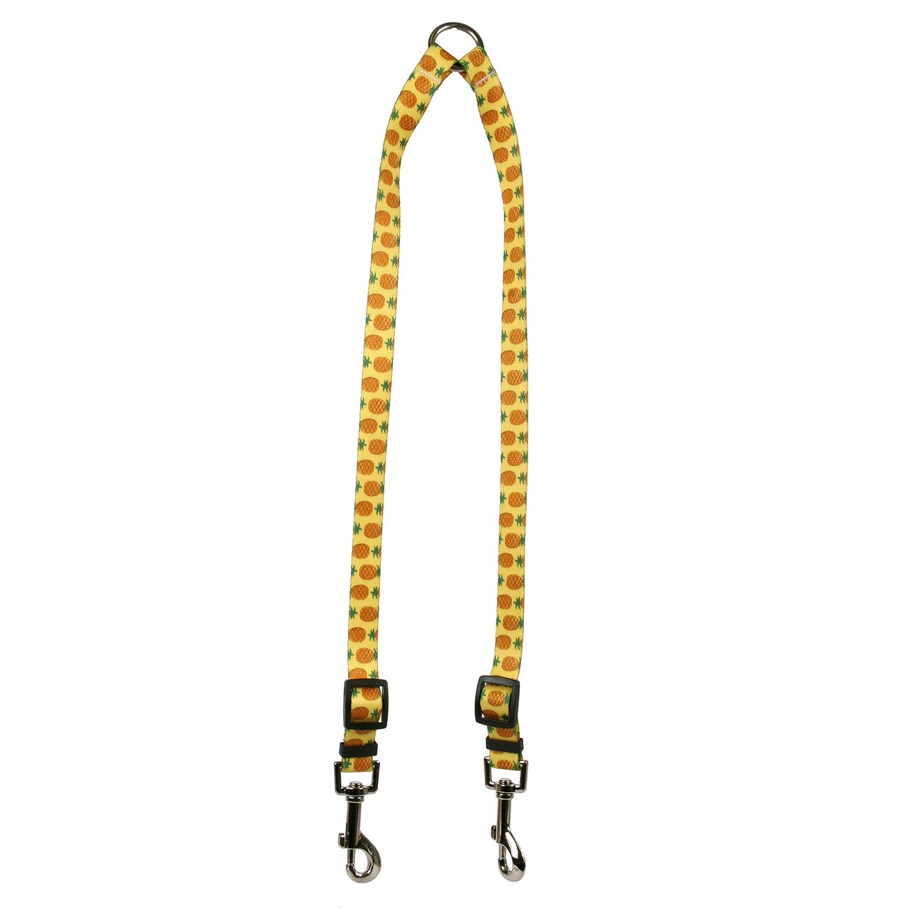 Large Yellow Dog Design Pineapples Yellow Coupler Dog Leash, Large-1  wide and 12 to 20  long